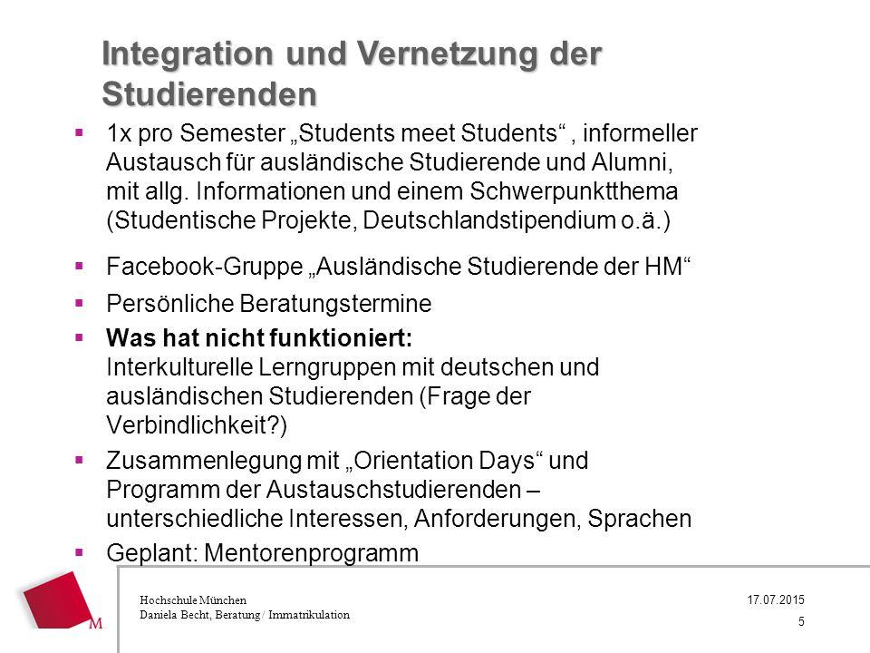 """Hochschule München Daniela Becht, Beratung / Immatrikulation Integration und Vernetzung der Studierenden  1x pro Semester """"Students meet Students , informeller Austausch für ausländische Studierende und Alumni, mit allg."""
