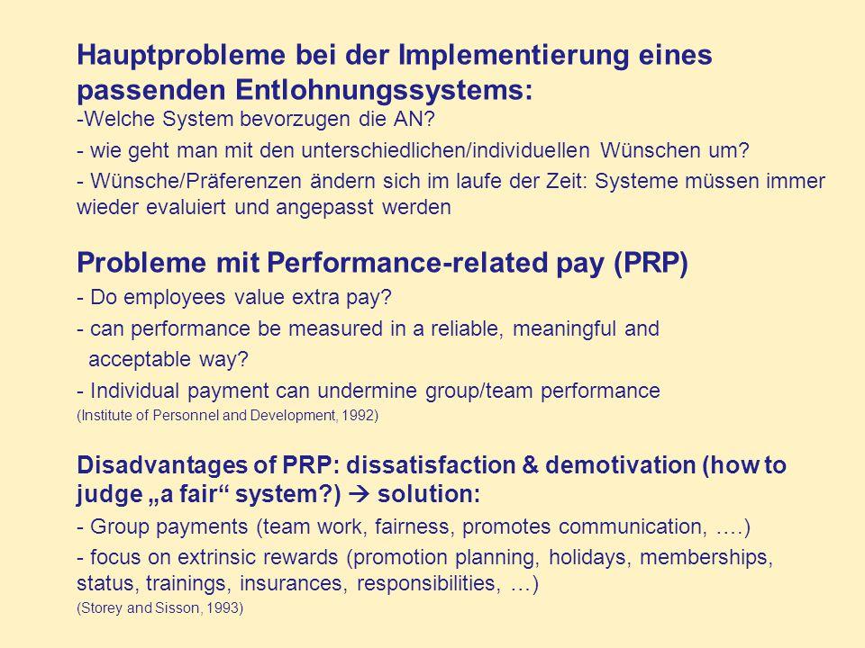 Hauptprobleme bei der Implementierung eines passenden Entlohnungssystems: -Welche System bevorzugen die AN? - wie geht man mit den unterschiedlichen/i
