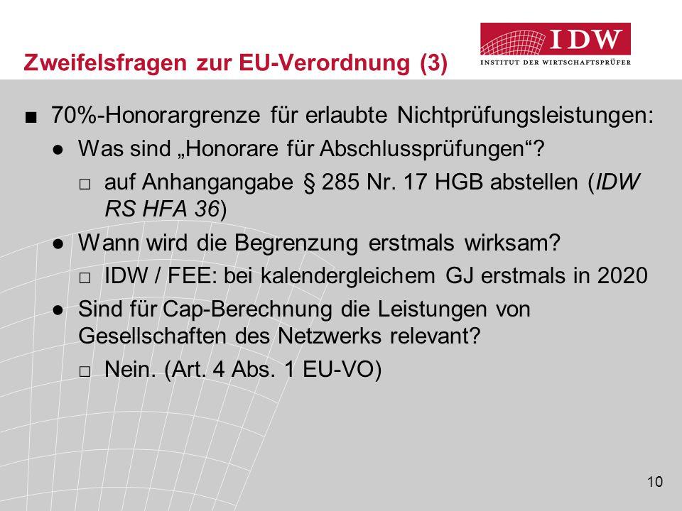 """10 Zweifelsfragen zur EU-Verordnung (3) ■70%-Honorargrenze für erlaubte Nichtprüfungsleistungen: ●Was sind """"Honorare für Abschlussprüfungen""""? □auf Anh"""