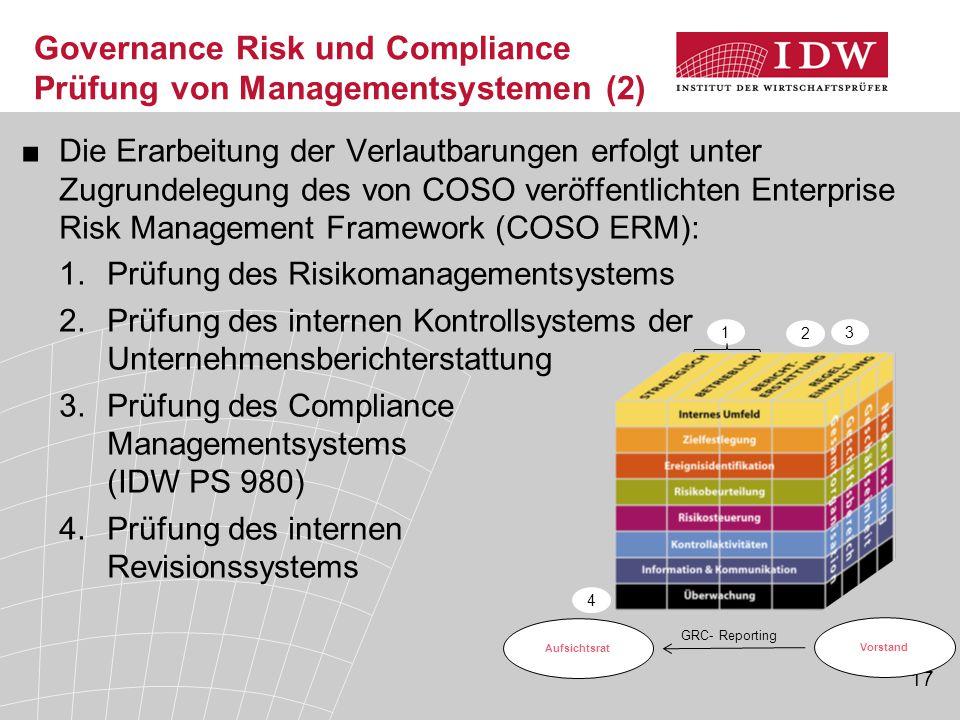 17 Governance Risk und Compliance Prüfung von Managementsystemen (2) ■Die Erarbeitung der Verlautbarungen erfolgt unter Zugrundelegung des von COSO ve