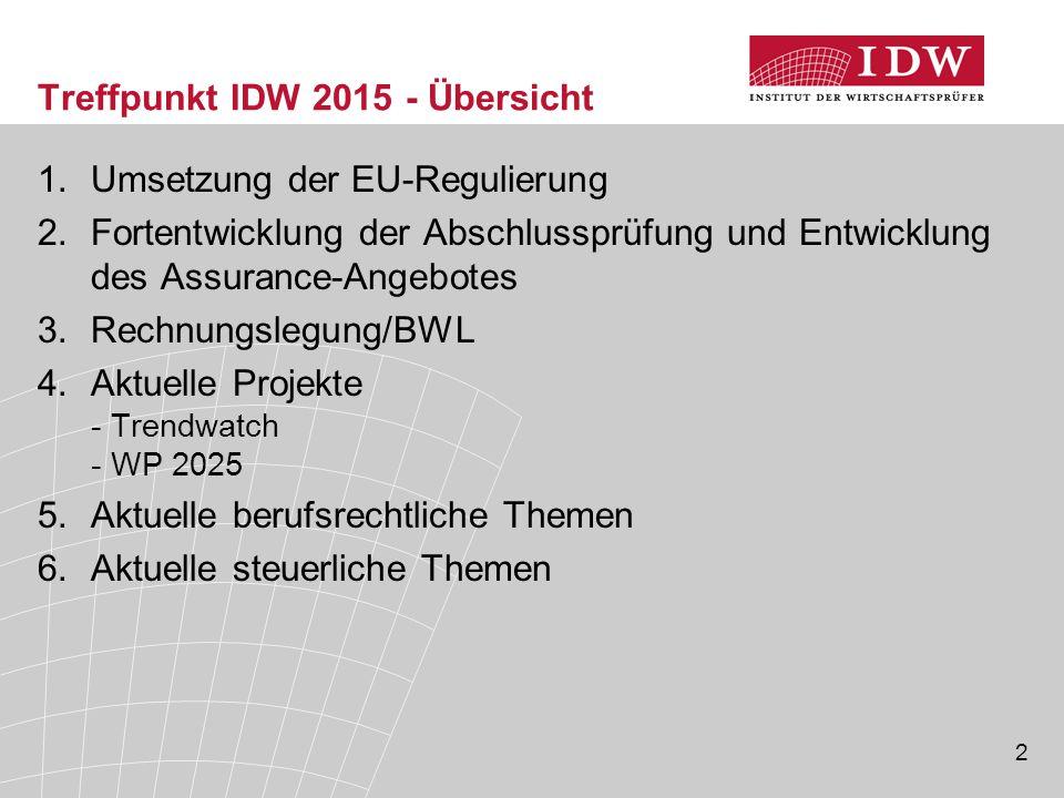 2 Treffpunkt IDW 2015 - Übersicht 1.Umsetzung der EU-Regulierung 2.Fortentwicklung der Abschlussprüfung und Entwicklung des Assurance-Angebotes 3.Rech