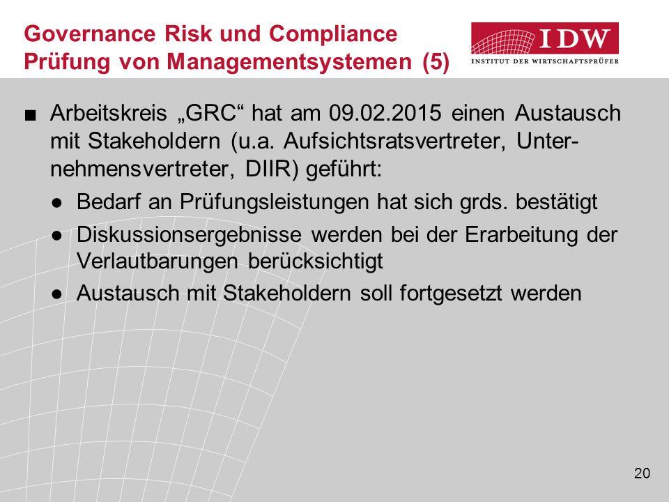 """20 Governance Risk und Compliance Prüfung von Managementsystemen (5) ■Arbeitskreis """"GRC"""" hat am 09.02.2015 einen Austausch mit Stakeholdern (u.a. Aufs"""