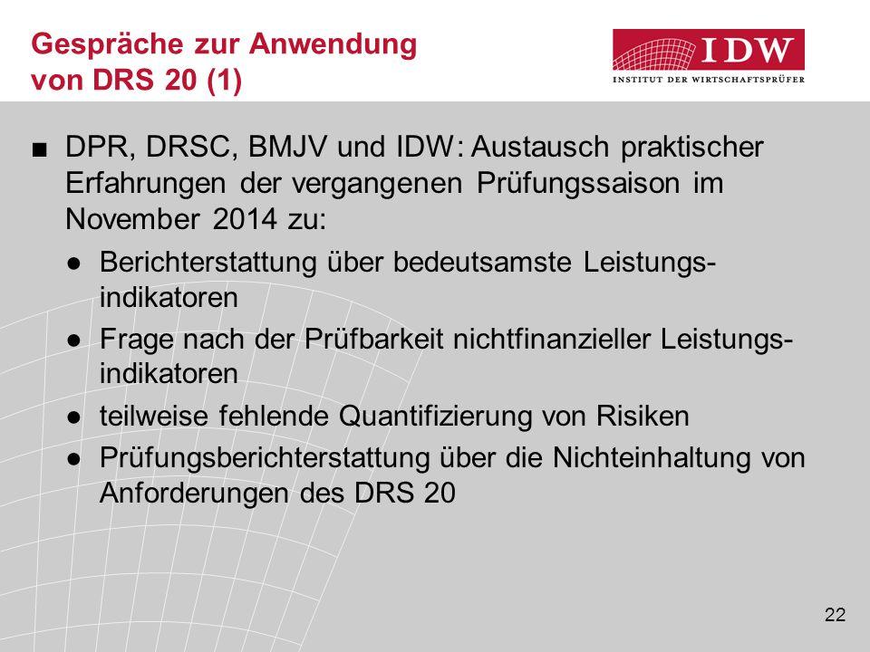 22 Gespräche zur Anwendung von DRS 20 (1) ■DPR, DRSC, BMJV und IDW: Austausch praktischer Erfahrungen der vergangenen Prüfungssaison im November 2014