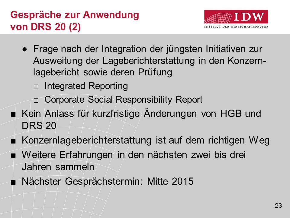 23 Gespräche zur Anwendung von DRS 20 (2) ●Frage nach der Integration der jüngsten Initiativen zur Ausweitung der Lageberichterstattung in den Konzern
