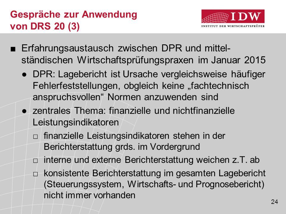 24 Gespräche zur Anwendung von DRS 20 (3) ■Erfahrungsaustausch zwischen DPR und mittel- ständischen Wirtschaftsprüfungspraxen im Januar 2015 ●DPR: Lag