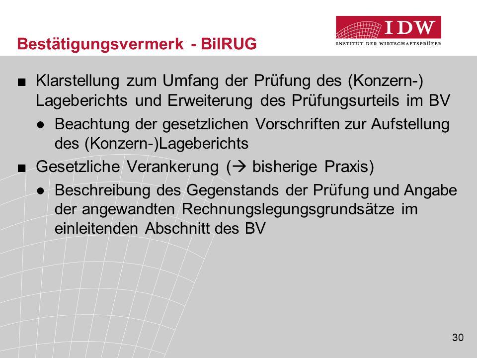 30 Bestätigungsvermerk - BilRUG ■Klarstellung zum Umfang der Prüfung des (Konzern-) Lageberichts und Erweiterung des Prüfungsurteils im BV ●Beachtung