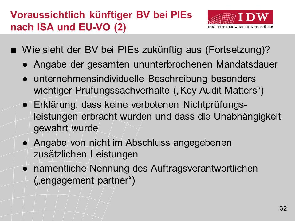 32 Voraussichtlich künftiger BV bei PIEs nach ISA und EU-VO (2) ■Wie sieht der BV bei PIEs zukünftig aus (Fortsetzung)? ●Angabe der gesamten ununterbr