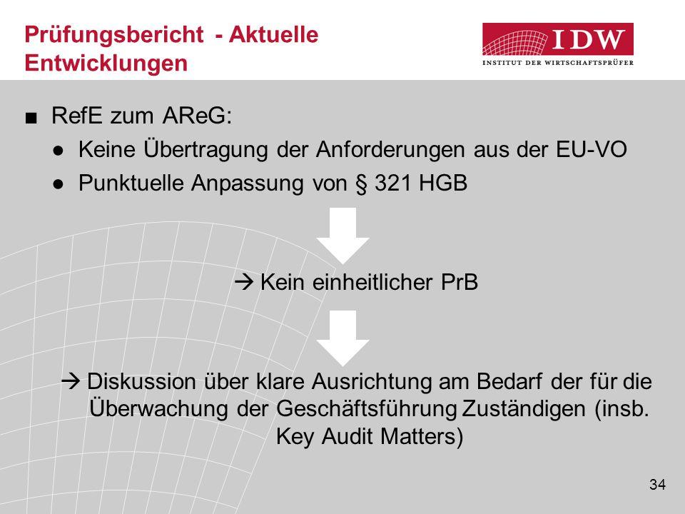 34 Prüfungsbericht - Aktuelle Entwicklungen ■RefE zum AReG: ●Keine Übertragung der Anforderungen aus der EU-VO ●Punktuelle Anpassung von § 321 HGB  K