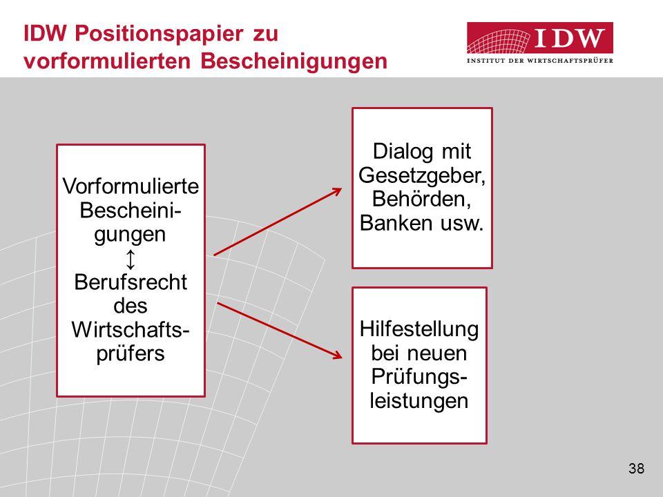 38 IDW Positionspapier zu vorformulierten Bescheinigungen Hilfestellung bei neuen Prüfungs- leistungen Dialog mit Gesetzgeber, Behörden, Banken usw. V