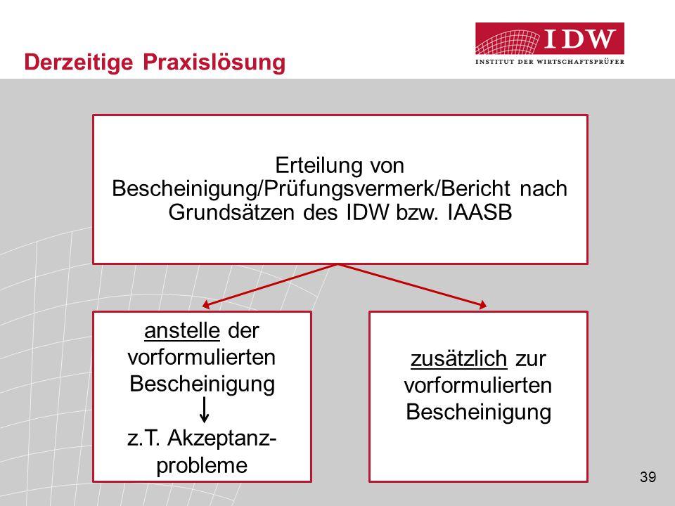 39 Derzeitige Praxislösung Erteilung von Bescheinigung/Prüfungsvermerk/Bericht nach Grundsätzen des IDW bzw. IAASB anstelle der vorformulierten Besche