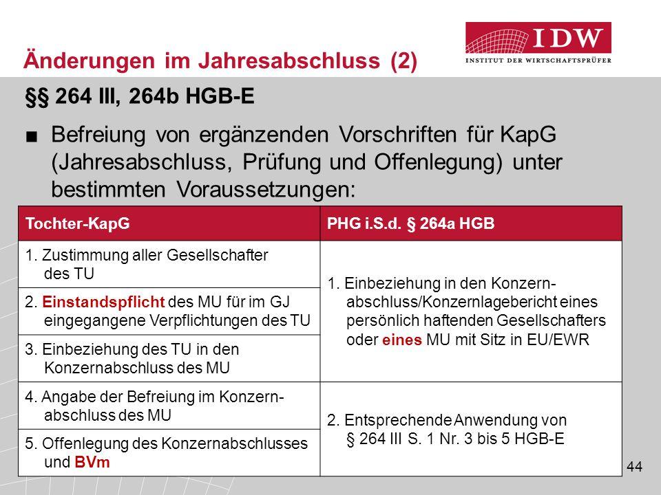 44 §§ 264 III, 264b HGB-E ■Befreiung von ergänzenden Vorschriften für KapG (Jahresabschluss, Prüfung und Offenlegung) unter bestimmten Voraussetzungen