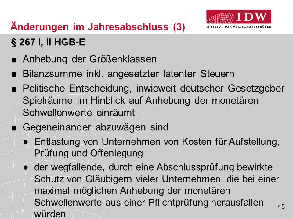 45 § 267 I, II HGB-E ■Anhebung der Größenklassen ■Bilanzsumme inkl. angesetzter latenter Steuern ■Politische Entscheidung, inwieweit deutscher Gesetzg