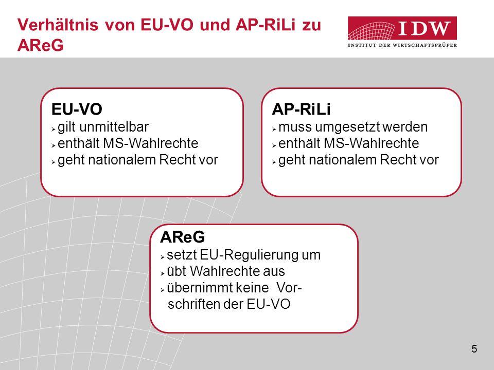 5 Verhältnis von EU-VO und AP-RiLi zu AReG AP-RiLi  muss umgesetzt werden  enthält MS-Wahlrechte  geht nationalem Recht vor EU-VO  gilt unmittelba