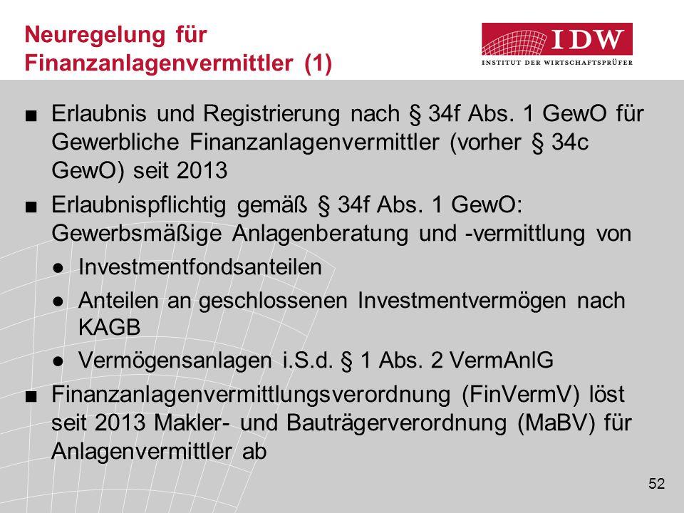 52 Neuregelung für Finanzanlagenvermittler (1) ■Erlaubnis und Registrierung nach § 34f Abs. 1 GewO für Gewerbliche Finanzanlagenvermittler (vorher § 3