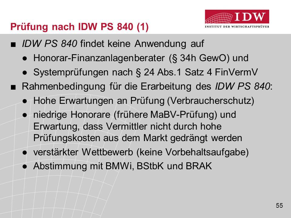 55 Prüfung nach IDW PS 840 (1) ■IDW PS 840 findet keine Anwendung auf ●Honorar-Finanzanlagenberater (§ 34h GewO) und ●Systemprüfungen nach § 24 Abs.1