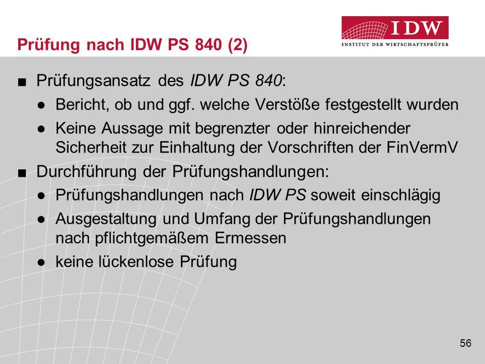 56 Prüfung nach IDW PS 840 (2) ■Prüfungsansatz des IDW PS 840: ●Bericht, ob und ggf. welche Verstöße festgestellt wurden ●Keine Aussage mit begrenzter