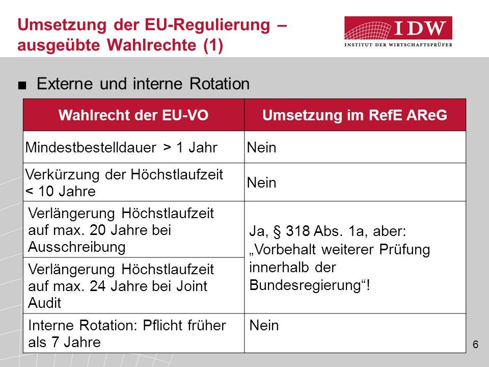 Umsetzung der EU-Regulierung – ausgeübte Wahlrechte (1) ■Externe und interne Rotation Wahlrecht der EU-VOUmsetzung im RefE AReG Mindestbestelldauer >