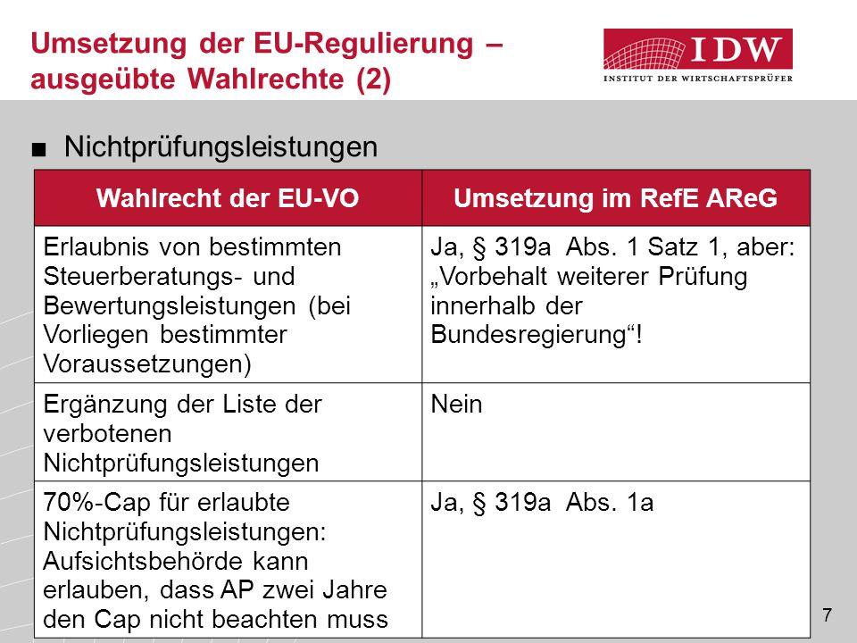 Umsetzung der EU-Regulierung – ausgeübte Wahlrechte (2) ■Nichtprüfungsleistungen Wahlrecht der EU-VOUmsetzung im RefE AReG Erlaubnis von bestimmten St