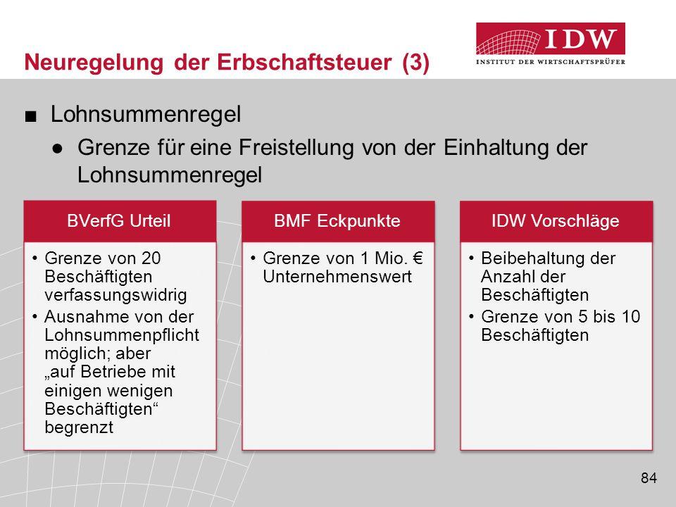 84 Neuregelung der Erbschaftsteuer (3) ■Lohnsummenregel ●Grenze für eine Freistellung von der Einhaltung der Lohnsummenregel BVerfG Urteil Grenze von