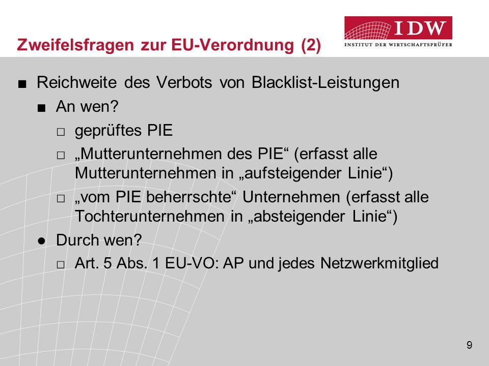 """9 Zweifelsfragen zur EU-Verordnung (2) ■Reichweite des Verbots von Blacklist-Leistungen ■An wen? □geprüftes PIE □""""Mutterunternehmen des PIE"""" (erfasst"""
