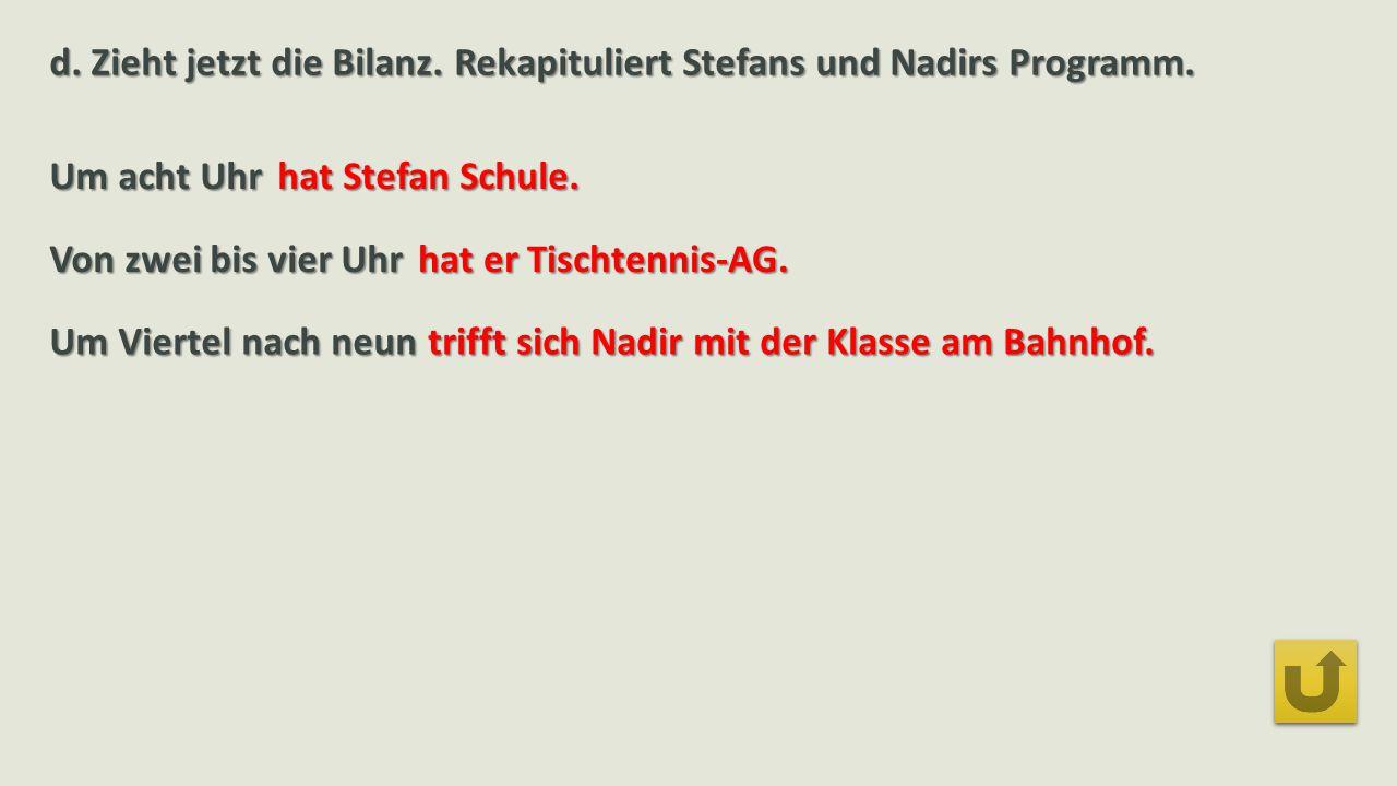 d.Zieht jetzt die Bilanz. Rekapituliert Stefans und Nadirs Programm.