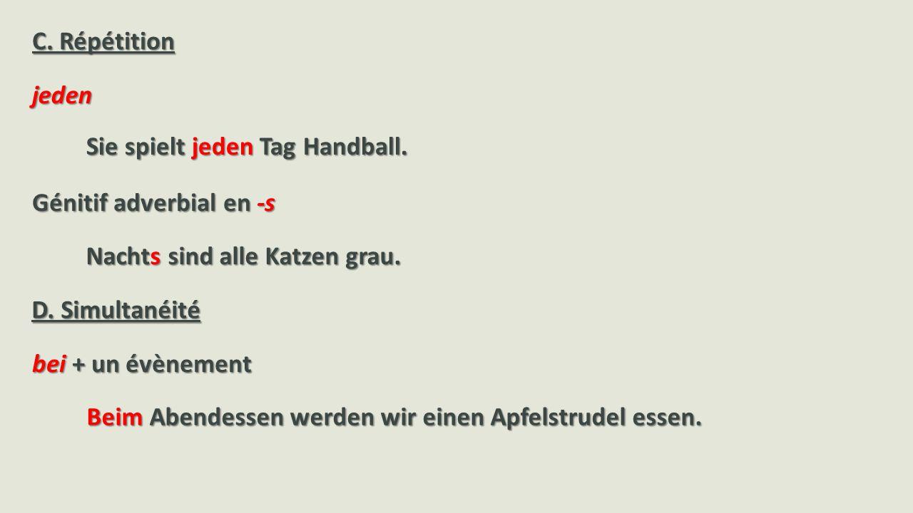 jeden Sie spielt jeden Tag Handball.Beim Abendessen werden wir einen Apfelstrudel essen.