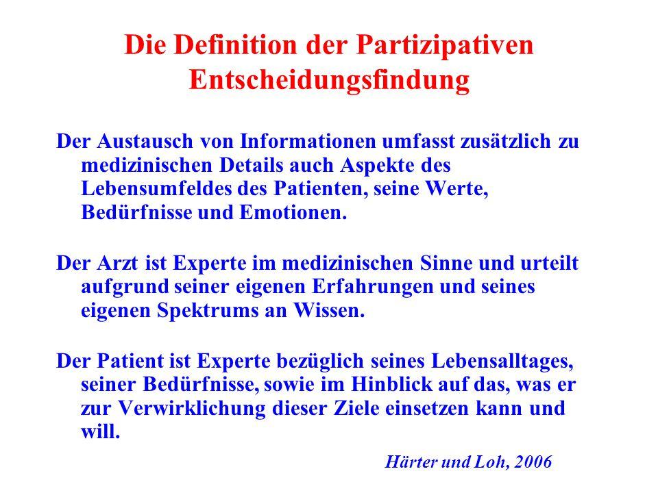 Die Definition der Partizipativen Entscheidungsfindung Der Austausch von Informationen umfasst zusätzlich zu medizinischen Details auch Aspekte des Le