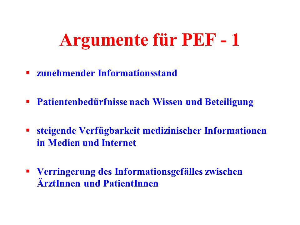 Argumente für PEF - 1  zunehmender Informationsstand  Patientenbedürfnisse nach Wissen und Beteiligung  steigende Verfügbarkeit medizinischer Infor