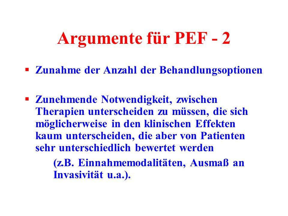 Argumente für PEF - 2  Zunahme der Anzahl der Behandlungsoptionen  Zunehmende Notwendigkeit, zwischen Therapien unterscheiden zu müssen, die sich mö