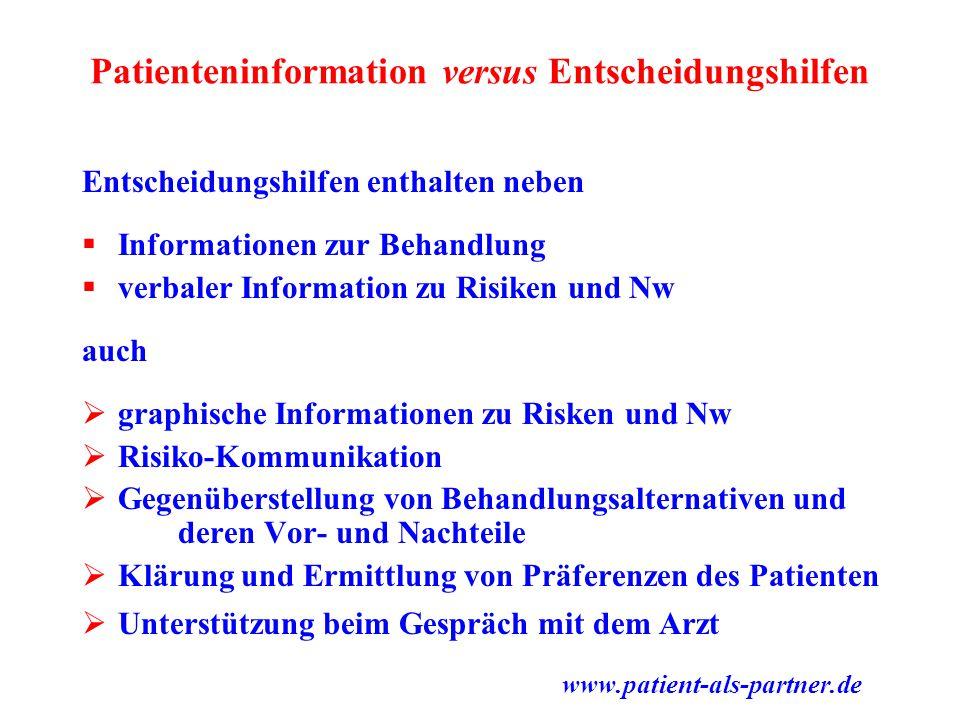 Patienteninformation versus Entscheidungshilfen Entscheidungshilfen enthalten neben  Informationen zur Behandlung  verbaler Information zu Risiken u