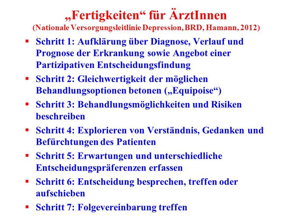 """""""Fertigkeiten"""" für ÄrztInnen (Nationale Versorgungsleitlinie Depression, BRD, Hamann, 2012)  Schritt 1: Aufklärung über Diagnose, Verlauf und Prognos"""