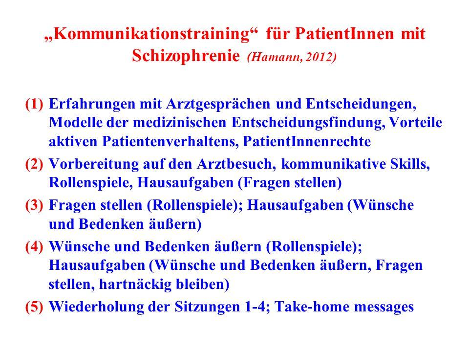 """""""Kommunikationstraining"""" für PatientInnen mit Schizophrenie (Hamann, 2012) (1)Erfahrungen mit Arztgesprächen und Entscheidungen, Modelle der medizinis"""
