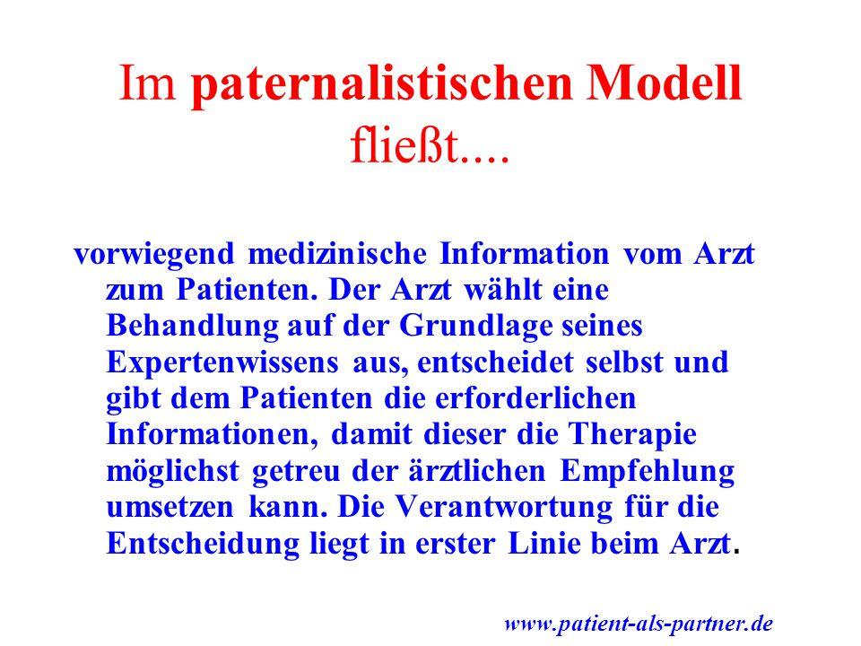 Im paternalistischen Modell fließt.... vorwiegend medizinische Information vom Arzt zum Patienten. Der Arzt wählt eine Behandlung auf der Grundlage se