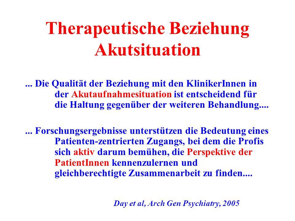 Therapeutische Beziehung Akutsituation... Die Qualität der Beziehung mit den KlinikerInnen in der Akutaufnahmesituation ist entscheidend für die Haltu