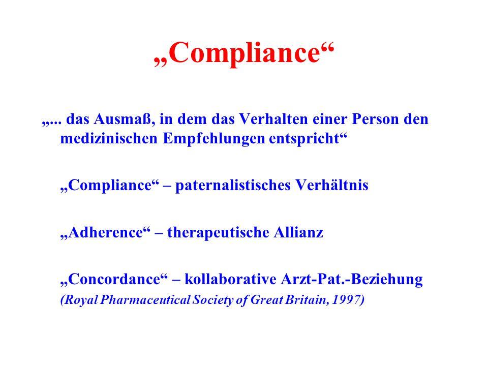 """""""Compliance"""" """"... das Ausmaß, in dem das Verhalten einer Person den medizinischen Empfehlungen entspricht"""" """"Compliance"""" – paternalistisches Verhältnis"""