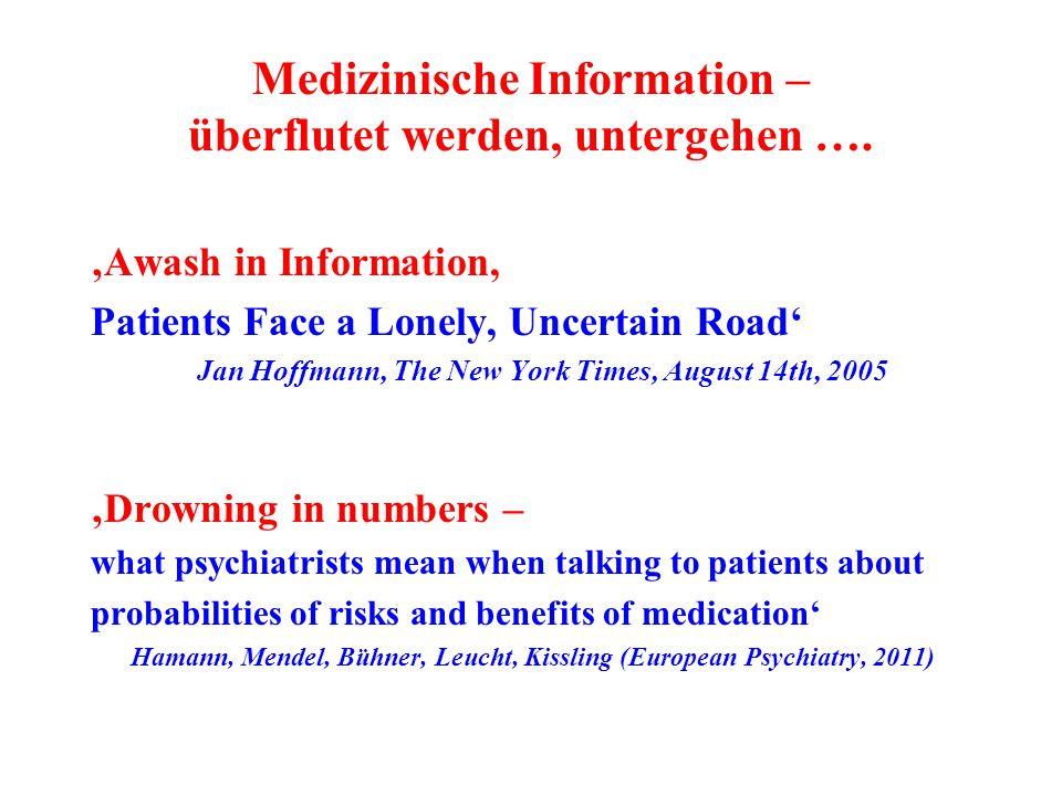 Medizinische Information – überflutet werden, untergehen …. 'Awash in Information, Patients Face a Lonely, Uncertain Road' Jan Hoffmann, The New York