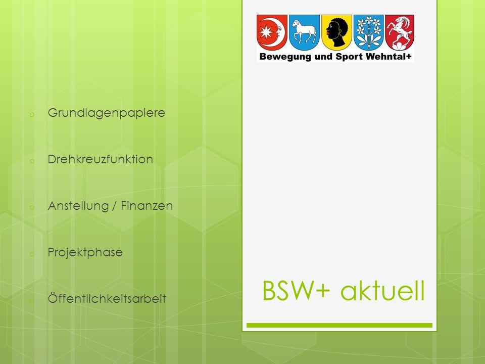 BSW+ aktuell o Grundlagenpapiere o Drehkreuzfunktion o Anstellung / Finanzen o Projektphase o Öffentlichkeitsarbeit