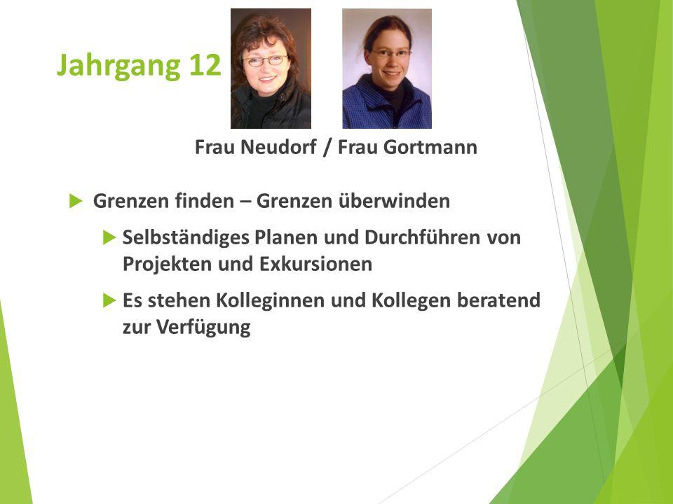 Jahrgang 12 Frau Neudorf / Frau Gortmann  Grenzen finden – Grenzen überwinden  Selbständiges Planen und Durchführen von Projekten und Exkursionen 