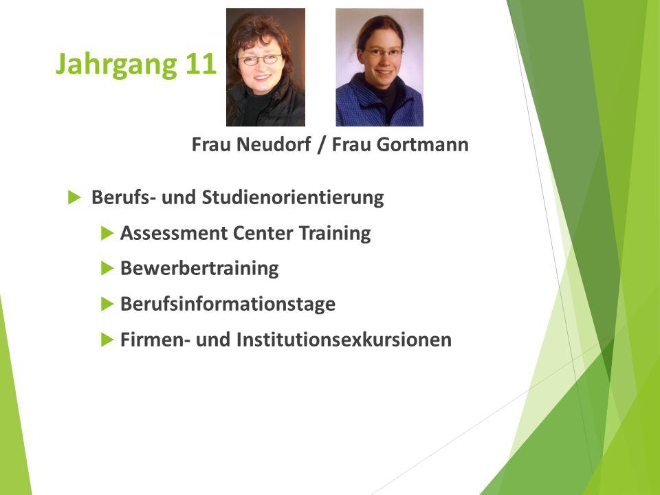 Jahrgang 11 Frau Neudorf / Frau Gortmann  Berufs- und Studienorientierung  Assessment Center Training  Bewerbertraining  Berufsinformationstage 