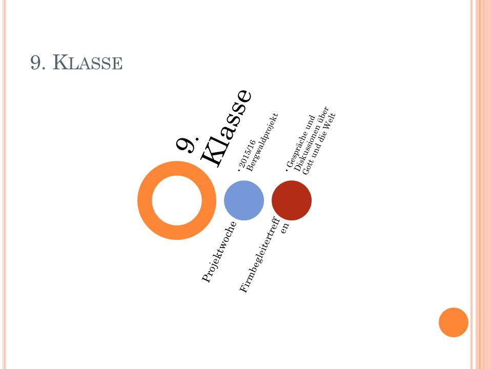 9. K LASSE 9. Klasse Projektwoche 2015/16 Bergwaldprojekt Firmbegleitertreff en Gespräche und Diskussionen über Gott und die Welt
