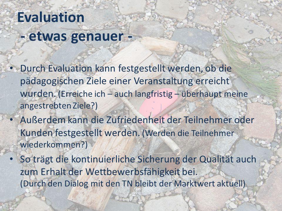 Evaluation - etwas genauer - Durch Evaluation kann festgestellt werden, ob die pädagogischen Ziele einer Veranstaltung erreicht wurden. (Erreiche ich