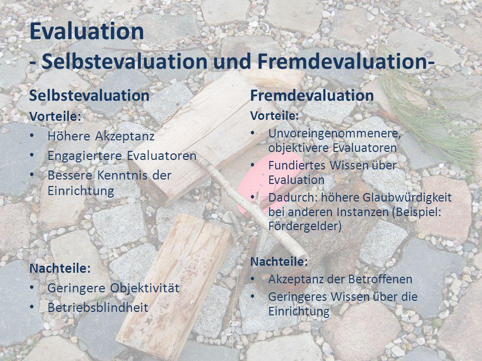 Evaluation - Selbstevaluation und Fremdevaluation- Selbstevaluation Vorteile: Höhere Akzeptanz Engagiertere Evaluatoren Bessere Kenntnis der Einrichtu