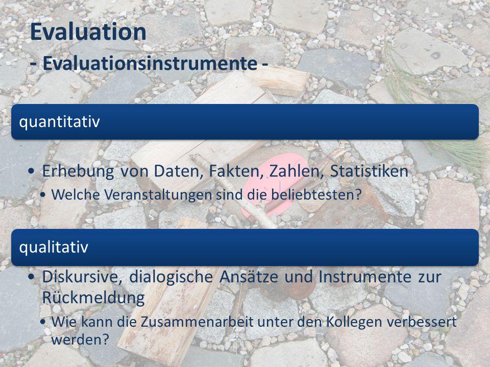 Evaluation - Evaluationsinstrumente - quantitativ Erhebung von Daten, Fakten, Zahlen, Statistiken Welche Veranstaltungen sind die beliebtesten? qualit