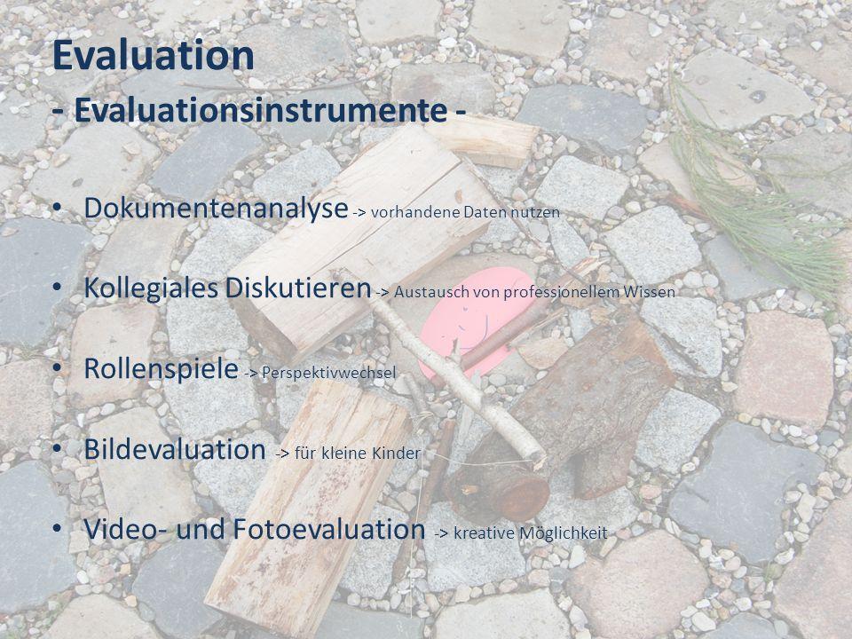 Evaluation - Evaluationsinstrumente - Dokumentenanalyse -> vorhandene Daten nutzen Kollegiales Diskutieren -> Austausch von professionellem Wissen Rol