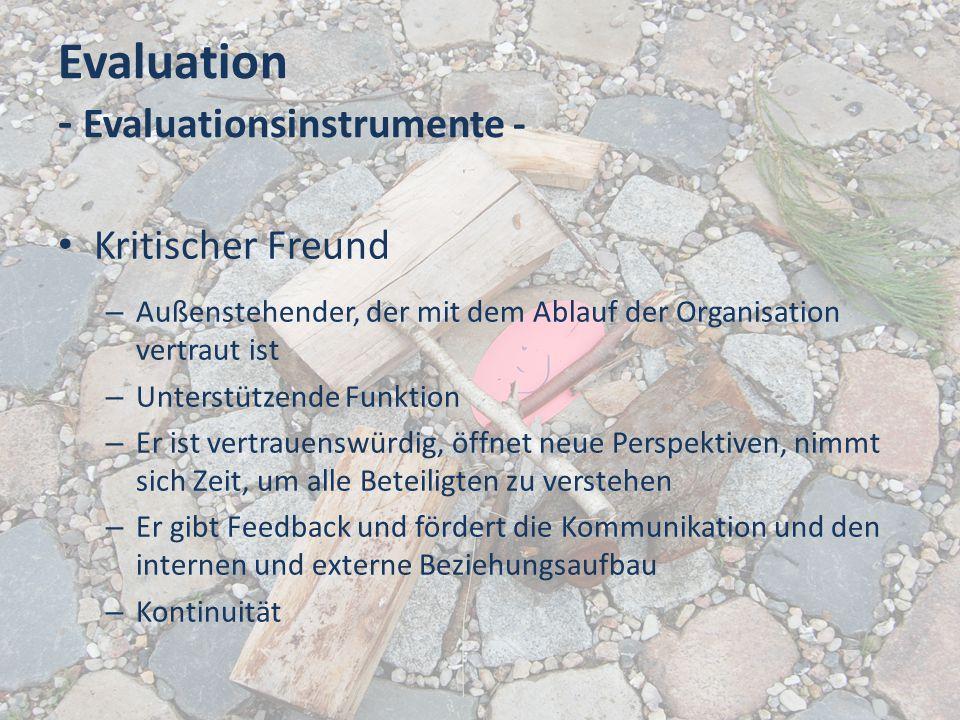 Evaluation - Evaluationsinstrumente - Kritischer Freund – Außenstehender, der mit dem Ablauf der Organisation vertraut ist – Unterstützende Funktion –