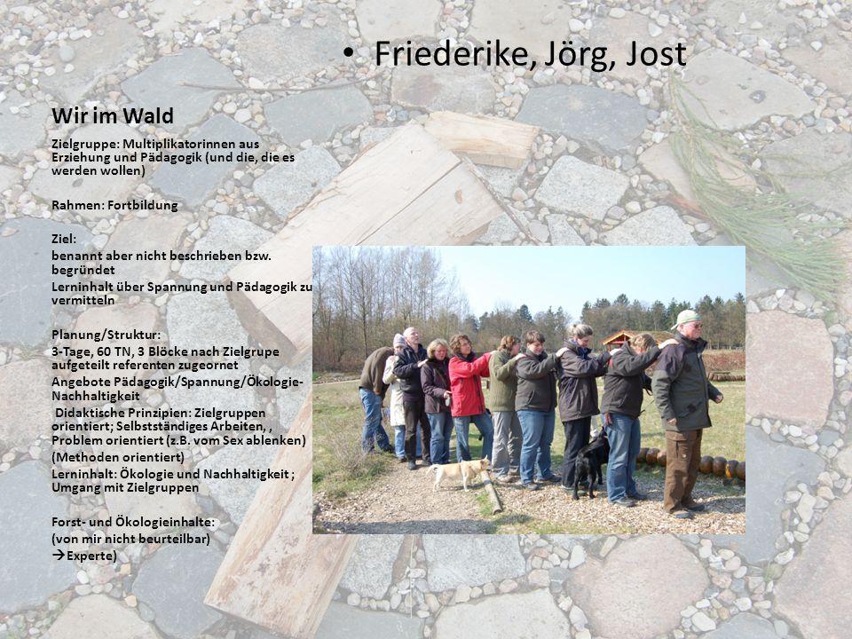 Wir im Wald Friederike, Jörg, Jost Zielgruppe: Multiplikatorinnen aus Erziehung und Pädagogik (und die, die es werden wollen) Rahmen: Fortbildung Ziel