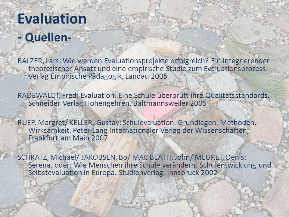 Evaluation - Quellen- BALZER, Lars: Wie werden Evaluationsprojekte erfolgreich? Ein integrierender theoretischer Ansatz und eine empirische Studie zum