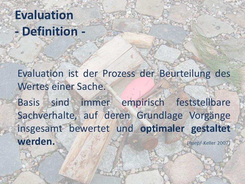 Evaluation - Definition - Evaluation ist der Prozess der Beurteilung des Wertes einer Sache. Basis sind immer empirisch feststellbare Sachverhalte, au