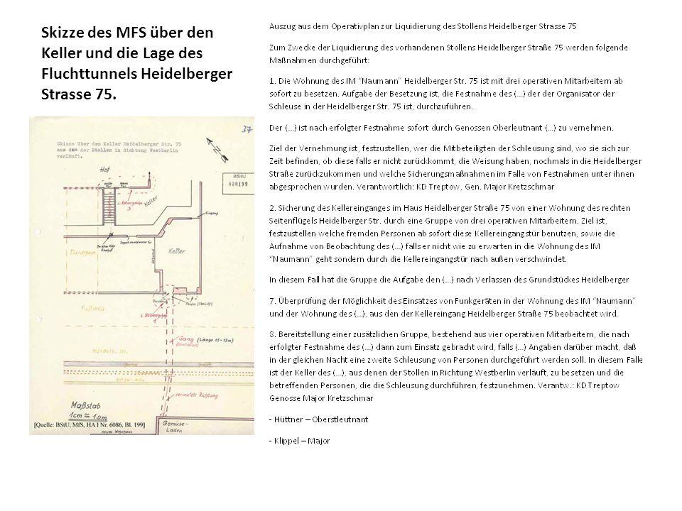 Skizze des MFS über den Keller und die Lage des Fluchttunnels Heidelberger Strasse 75.
