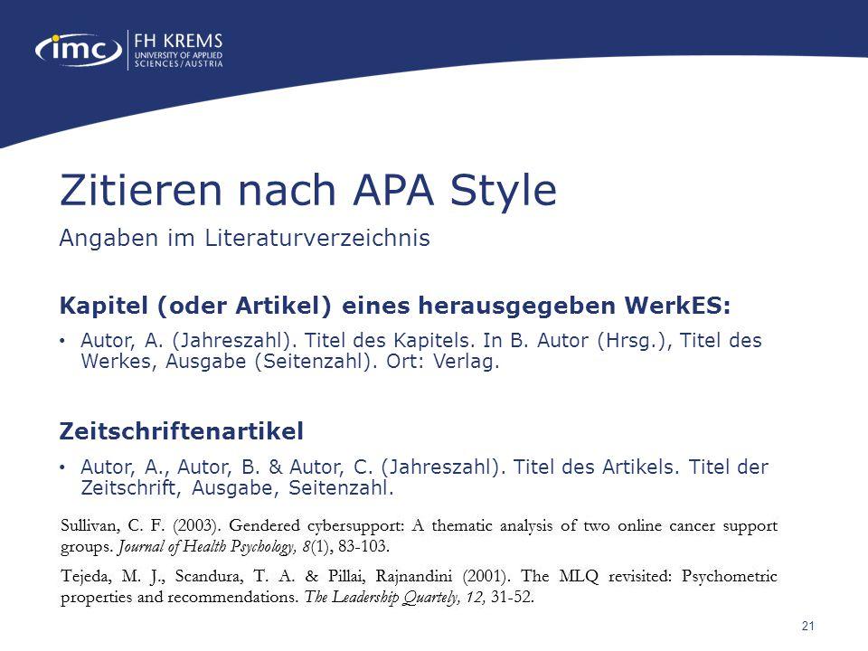 21 Kapitel (oder Artikel) eines herausgegeben WerkES: Autor, A.